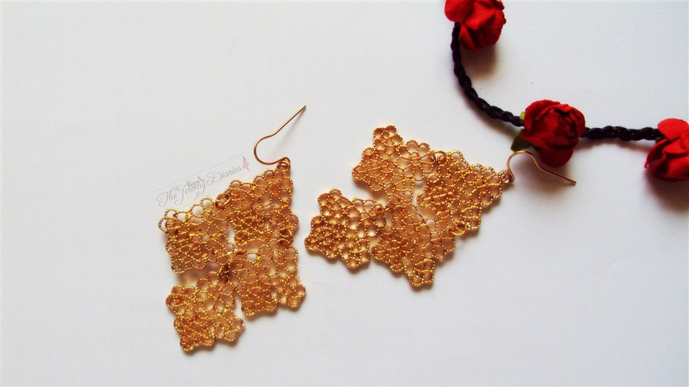 Golden Filigree Danglers
