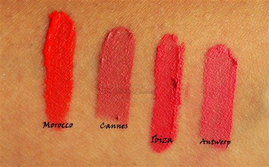 Swatches of Nyx soft matte lip cream in Ibiza Morocco Antwerp Cannes
