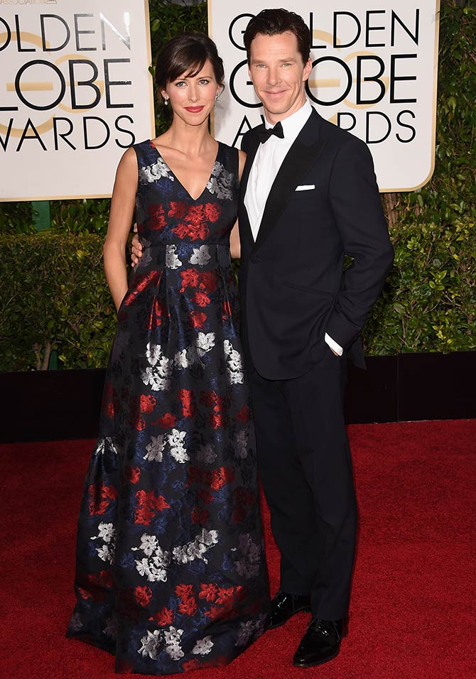 benedict cumberbatch with fiancee sophie hunter golden globes 2015