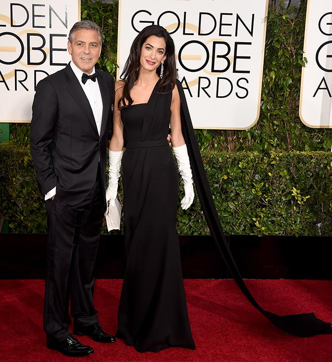 george clooney with wife amal alamuddin golden globes 2015