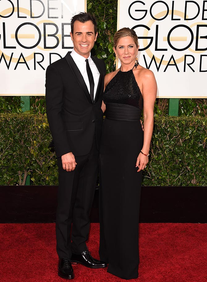 jennifer aniston with beau justin theroux golden globes2015