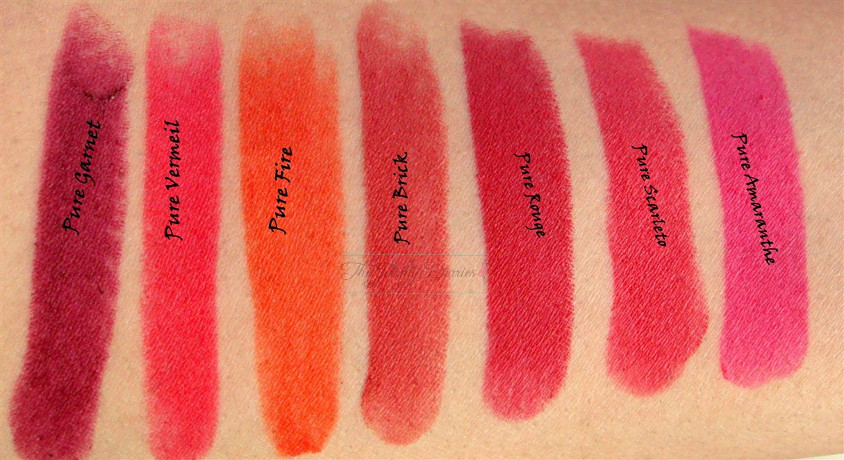 loreal collection star pure reds lipstick swatches pure garnet pure vermeil pure fire pure brick pure rouge pure scarleto pure