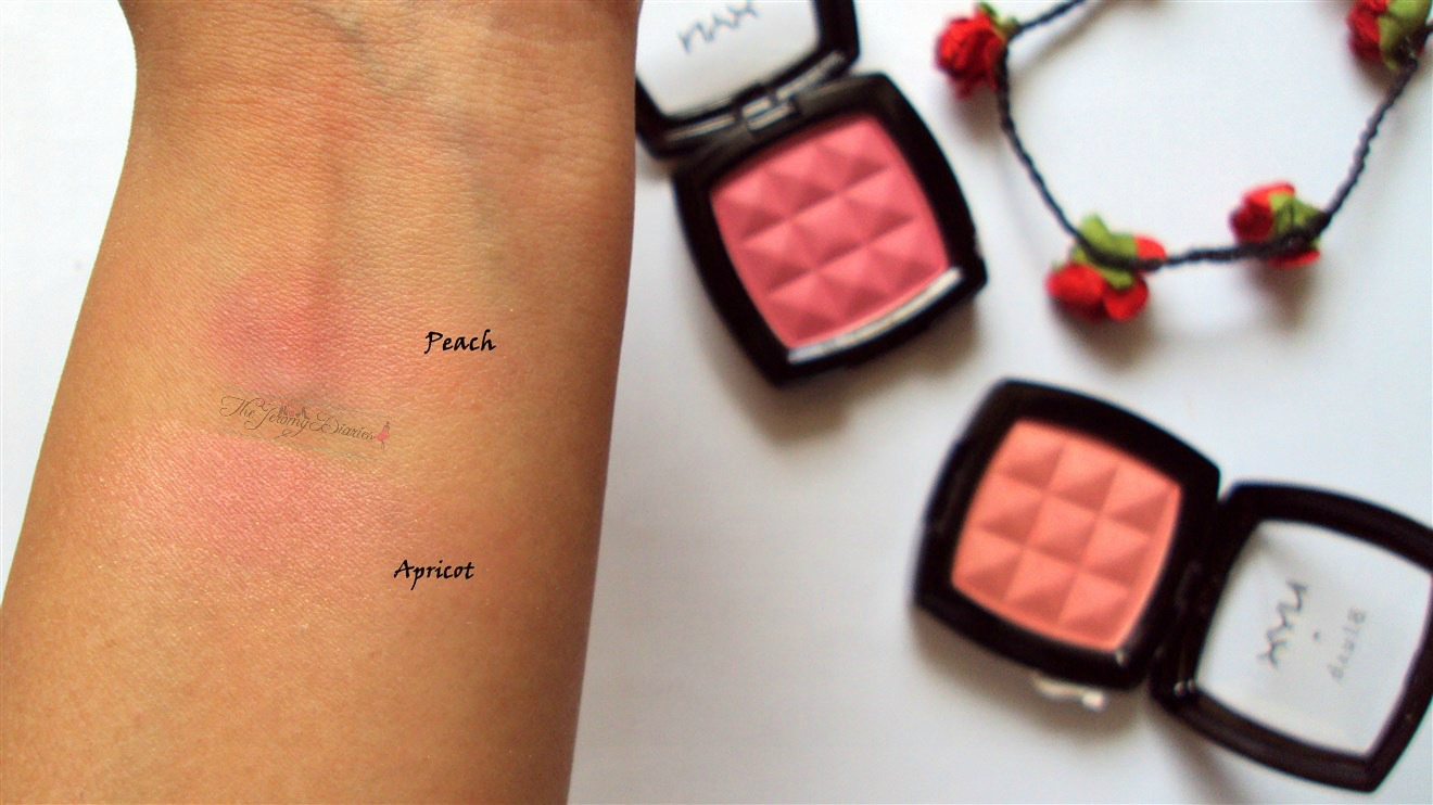 nyx powder blush apricot and peach blended
