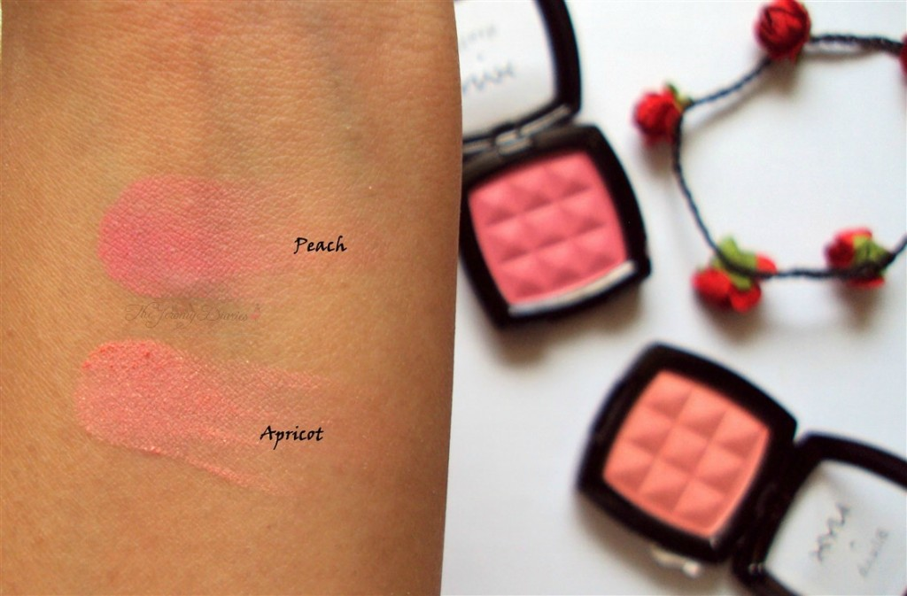 Nyx Powder Blush Peach and Apricot Review,Swatches and Availability in India