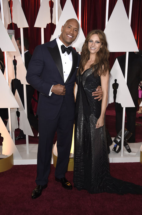 actor dwayne johnson and lauren hashian oscars 2015