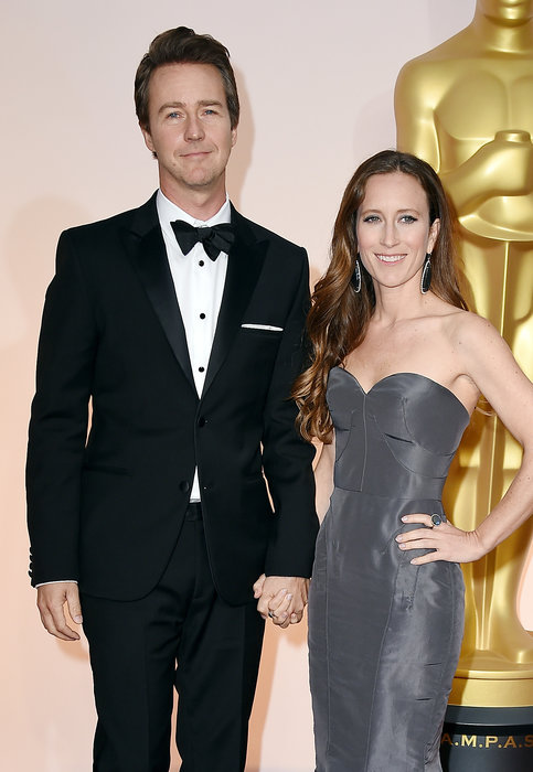 actor edward norton and producer shauna robertson oscars 2015