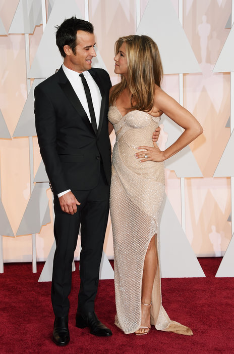 actors justin theroux and jennifer aniston oscars 2015