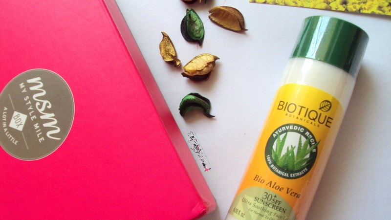 biotique products review bio aloe vera sunscreen in my style mile box march