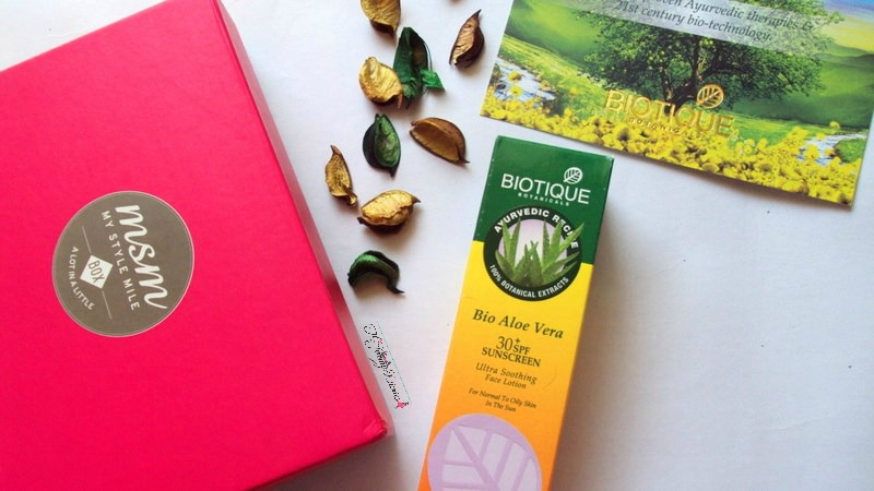 my style mile msm box biotique products bio aloe vera sunscreen 30 SPF review