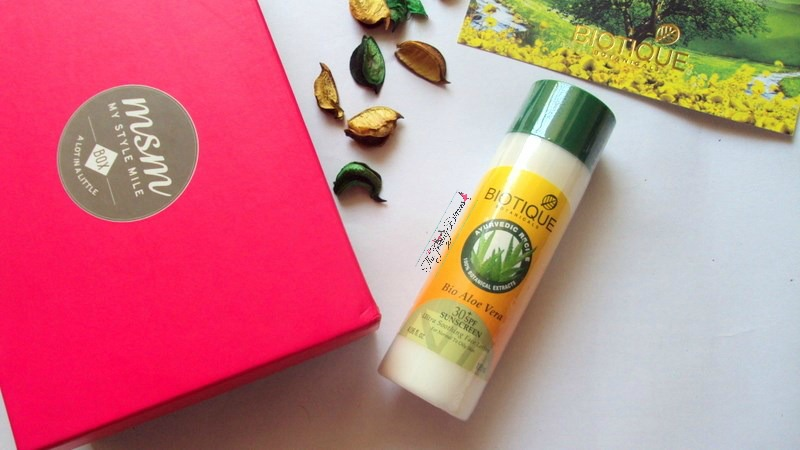 my style mile msm box march bio aloe vera sunscreen biotique