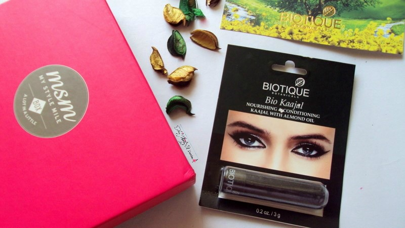 my style mile msm box march biotique bio kaajal review