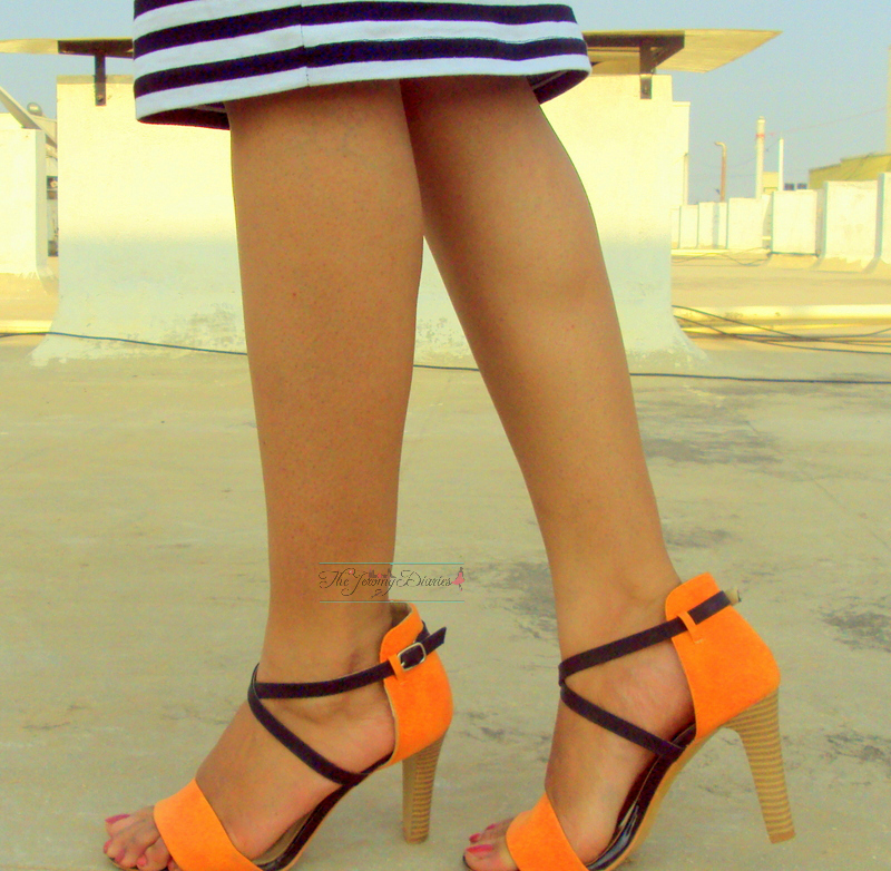 colour block heels done by none