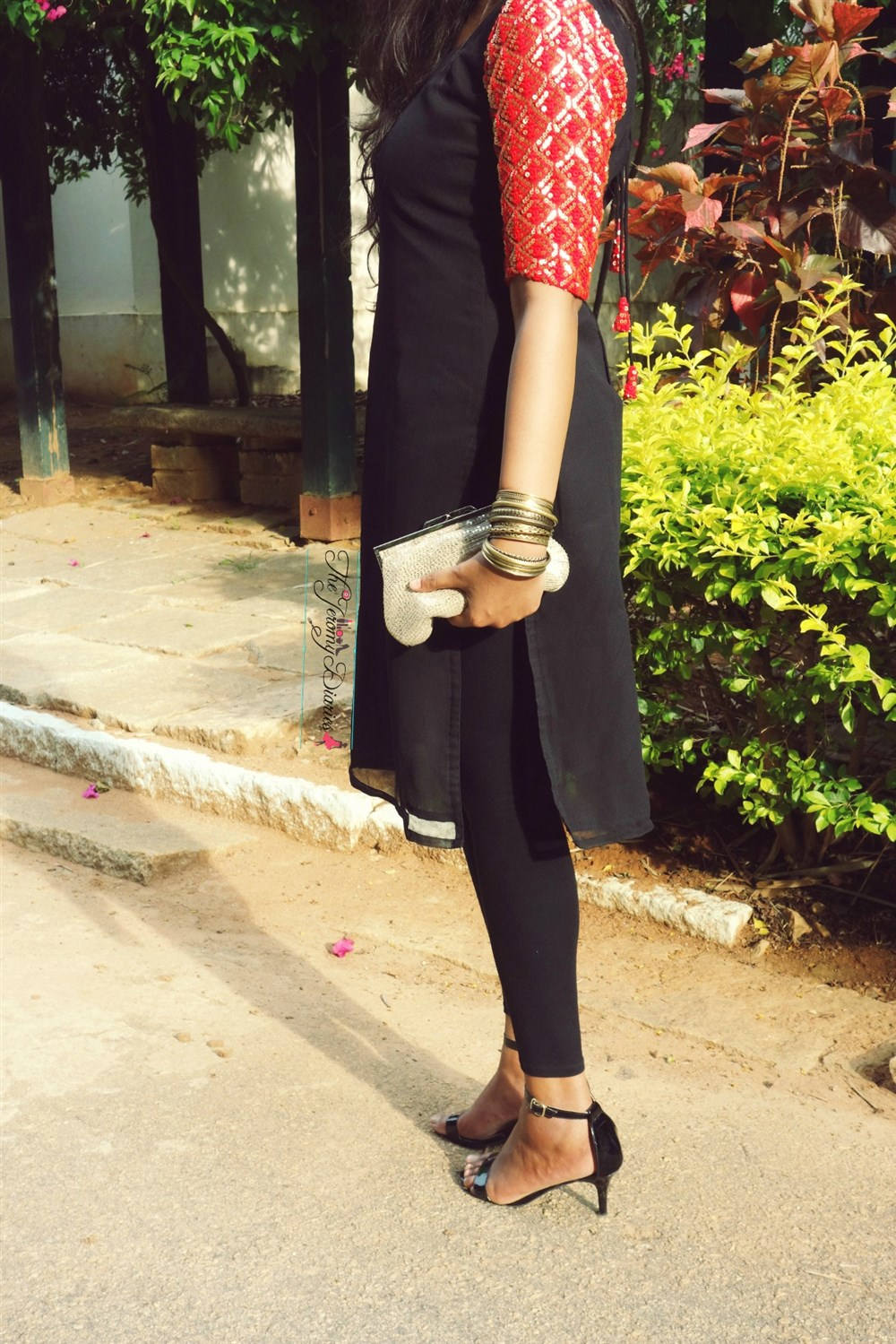 ankle strap heels and sequinned kurti