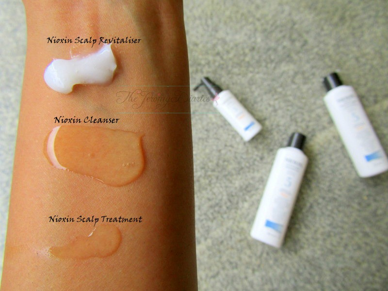 swatches of nioxin hair system kit 5