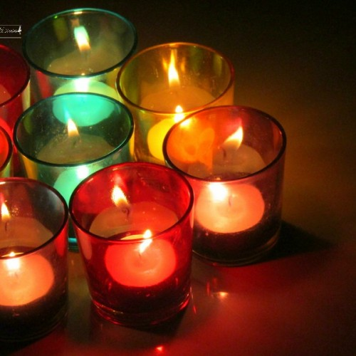 glossy votive set as candle stand