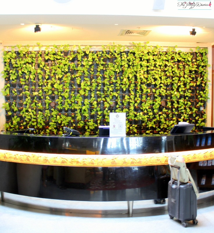 reception area at above ground level lounge bangalore international airport