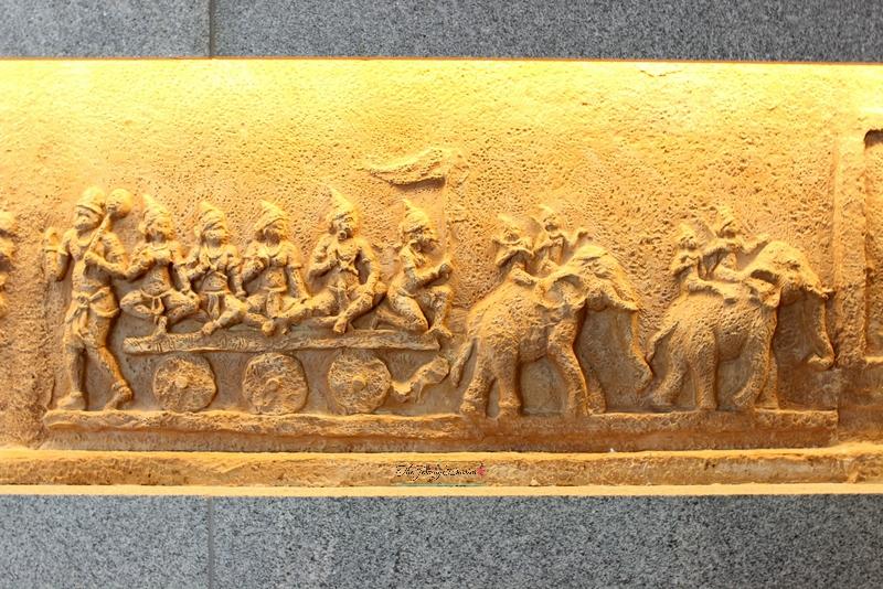 vijayanagar empire engravings on above ground level lounge walls bangalore