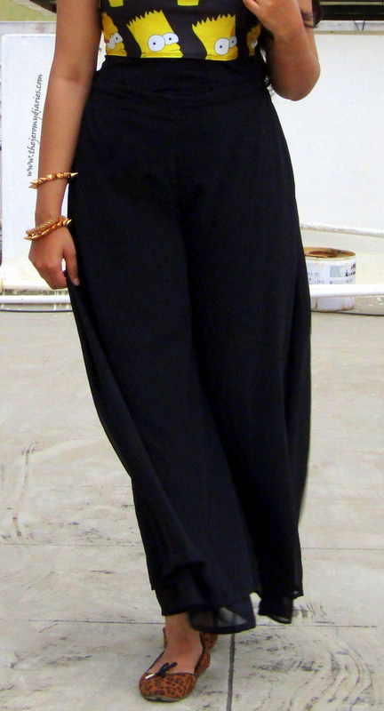 black palazzo pants with simpsons crop top outfit ideas