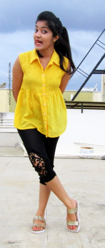 princy mascarenhas outfit of the day wearing des saints embroidered capri