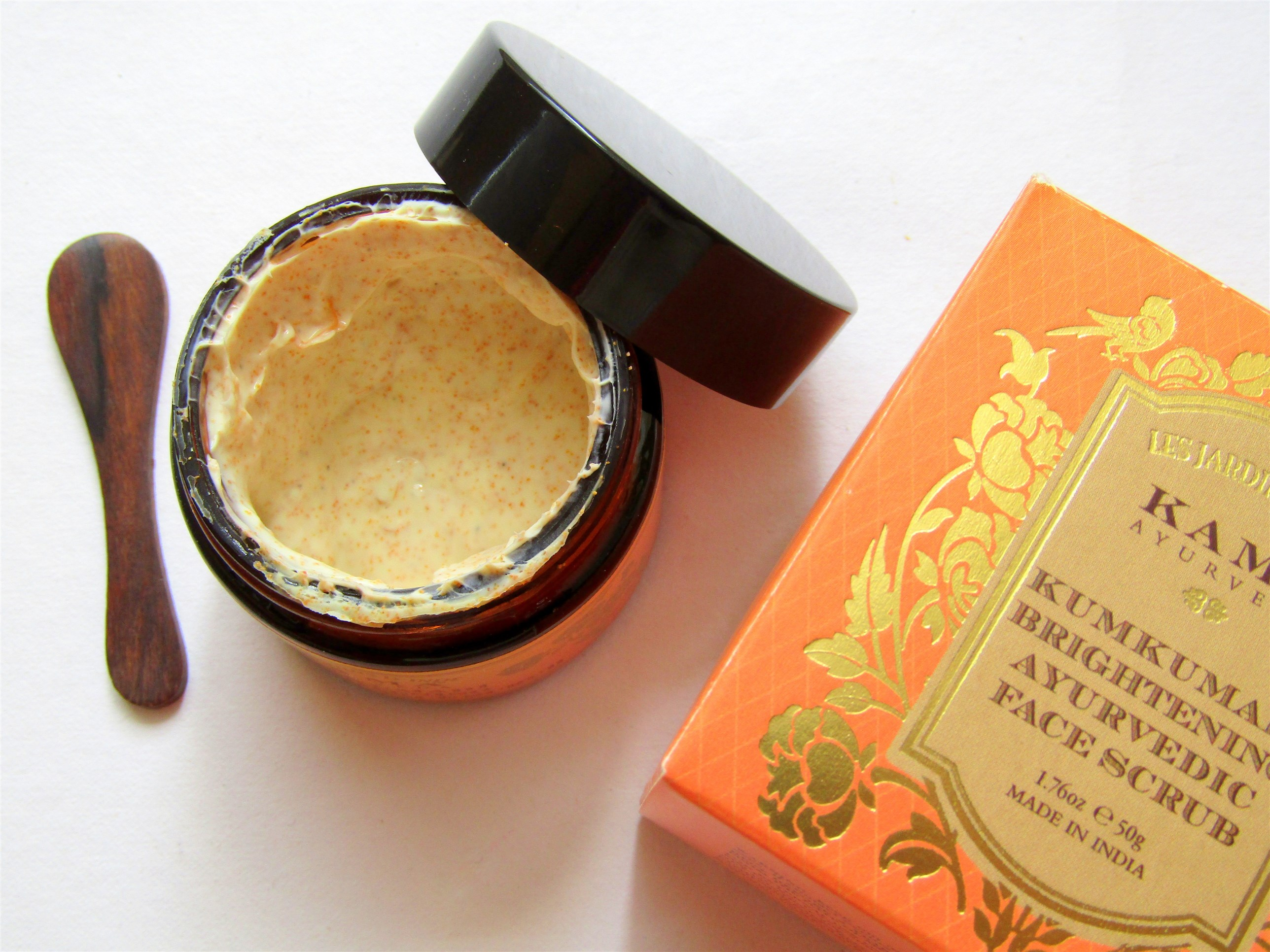 kama ayurveda kumkumadi brightening face scrub texture and packaging the jeromy diaries