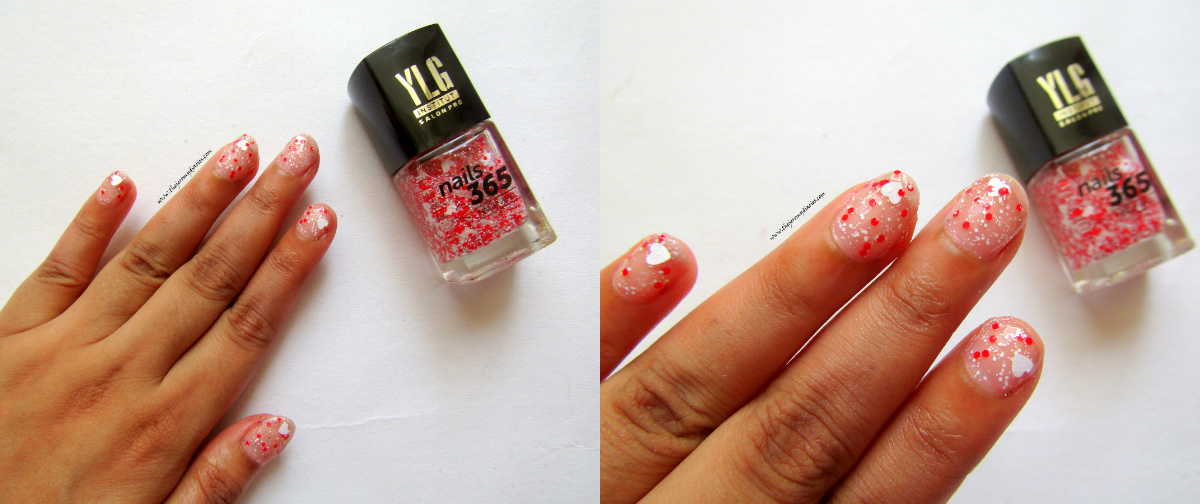 ylg nails 365 red nail art with hearts swatches
