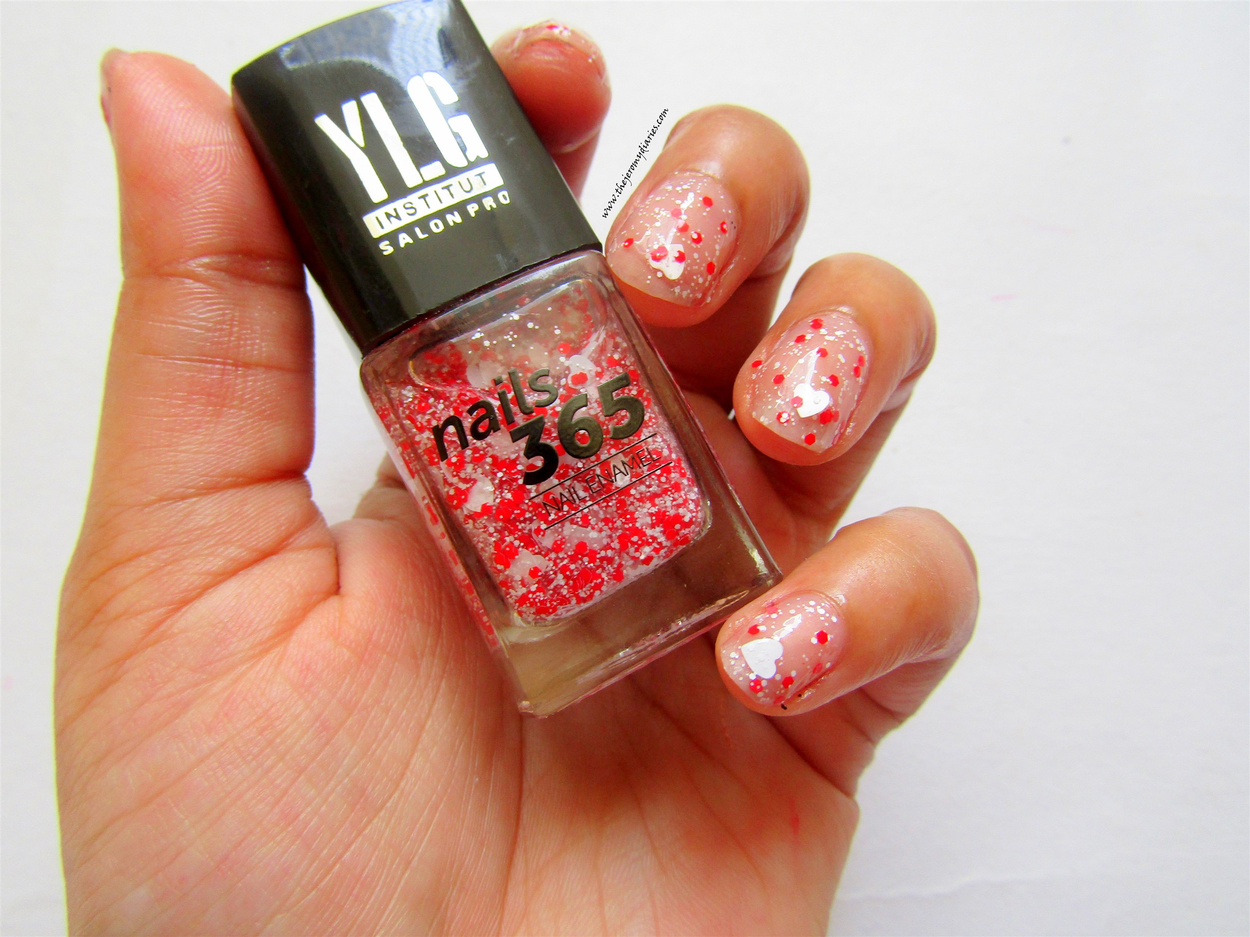 ylg nails red nail art with hearts swatches the jeromy diaries
