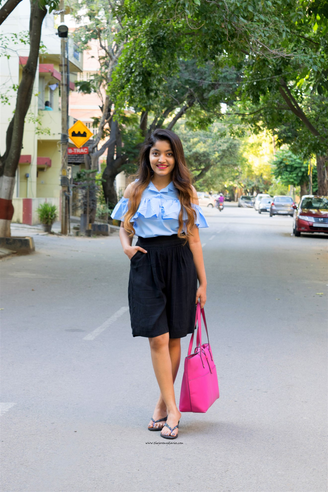 pastel-blue-cold-shoulder-top-zara-bermuda-the-jeromy-diaries-indian-fashion-blogger