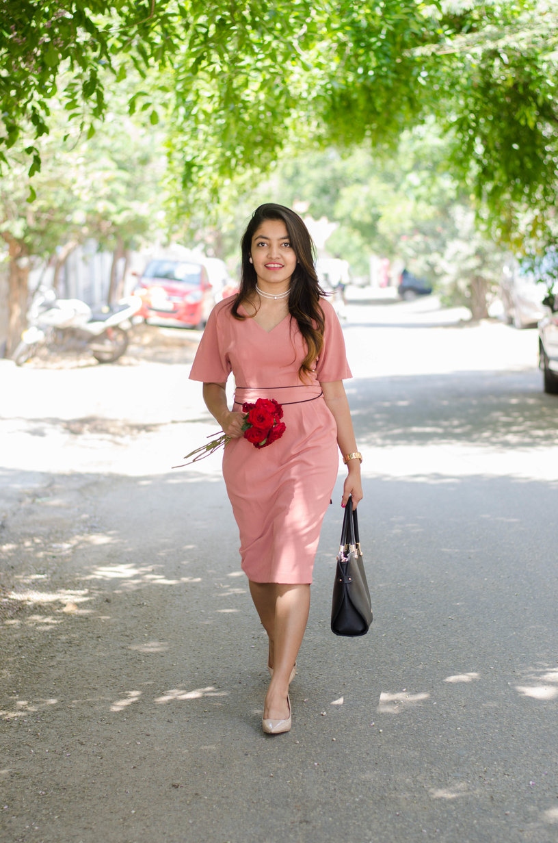 the jeromy diaries blogger wearing marks and spencer blush dress