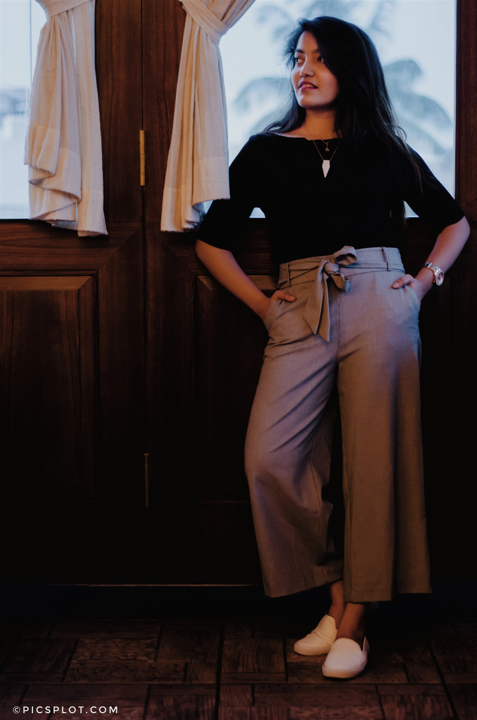 zara tie-up culottes and h&m black top the jeromy diaries fashion