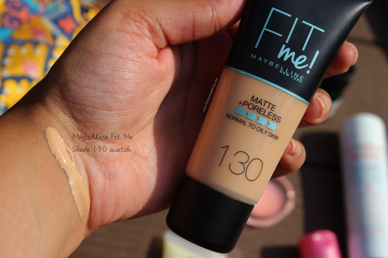 swatches of maybelline fit me matte poreless foundation in 130