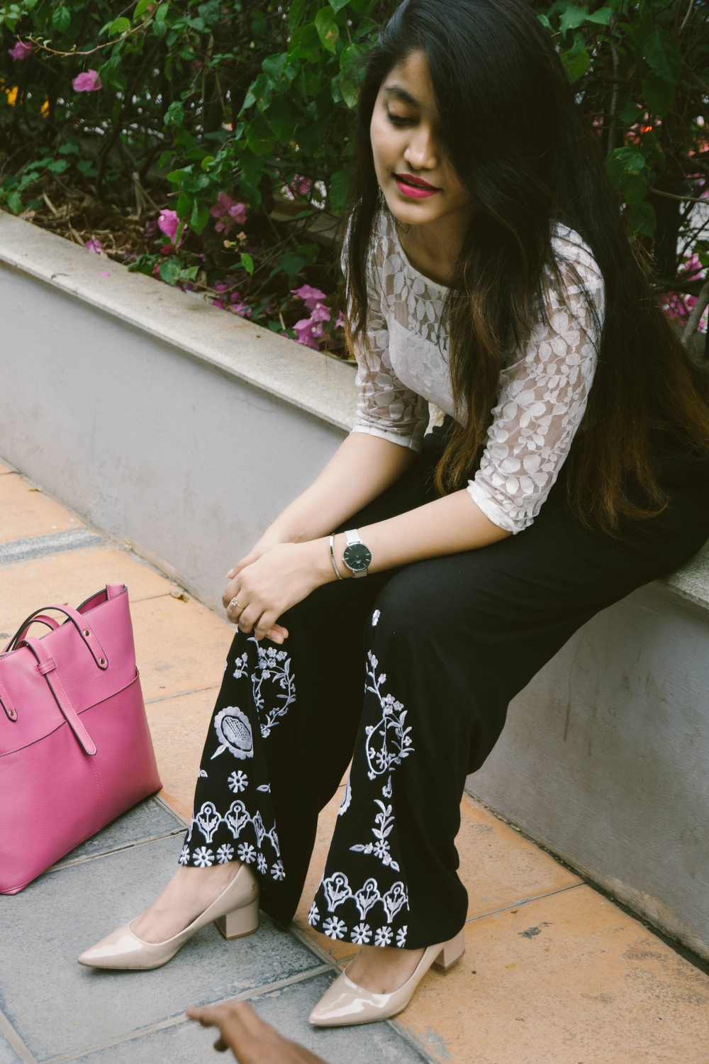 the jeromy diaries styling embroidered palazzos